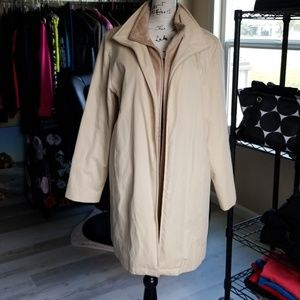 Mid-Length Trench Coat with Satin Lining
